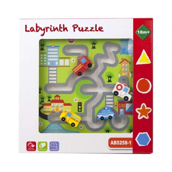 Puzzle lemn labirint auto 1
