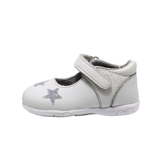 Pantofi fete albi din piele, Happy Bee ShineyStar, marimi 19-24 EU 0