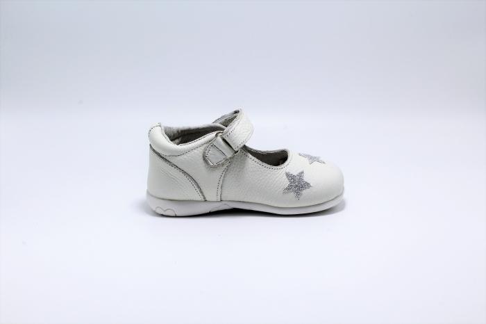 Pantofi fete albi din piele, Happy Bee ShineyStar, marimi 19-24 EU 1