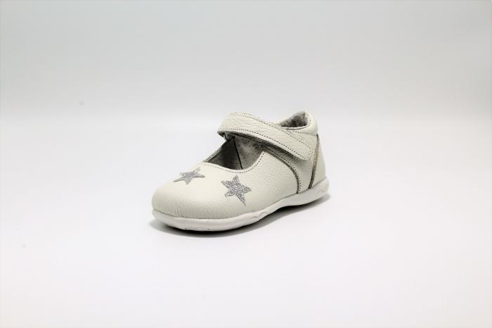 Pantofi fete albi din piele, Happy Bee ShineyStar, marimi 19-24 EU 2