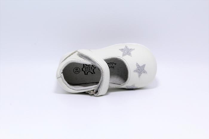 Pantofi fete albi din piele, Happy Bee ShineyStar, marimi 19-24 EU 3