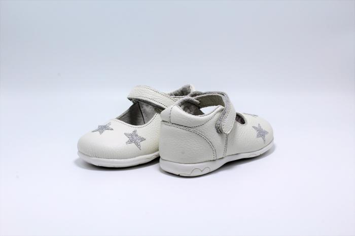 Pantofi fete albi din piele, Happy Bee ShineyStar, marimi 19-24 EU 5