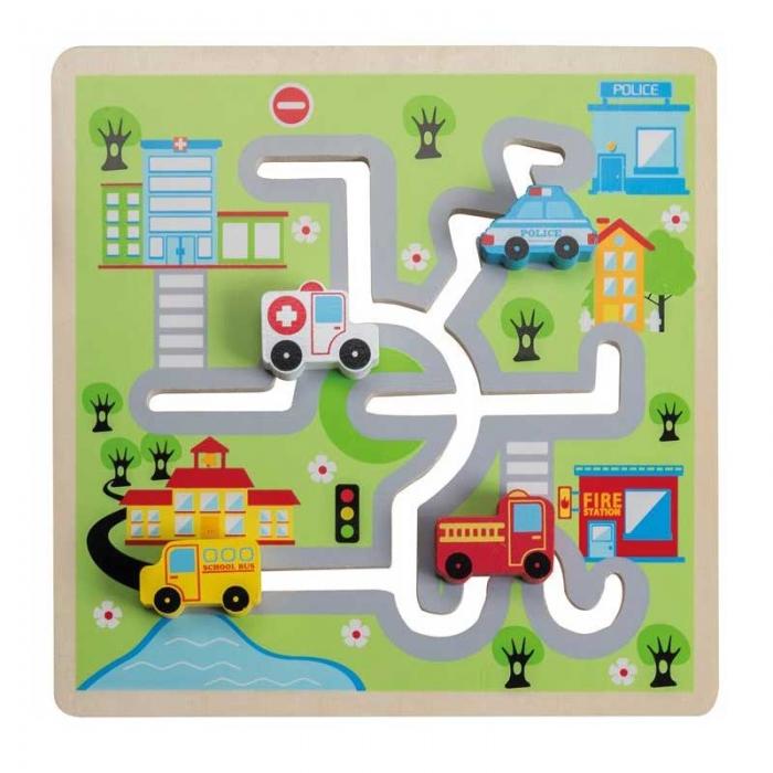 Puzzle lemn labirint auto 0