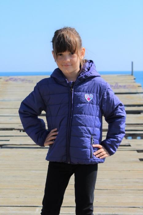 Jacheta fete Little Marcel, model Preppy Rock, 3-14 ani, culoare Bleu Nuit 3