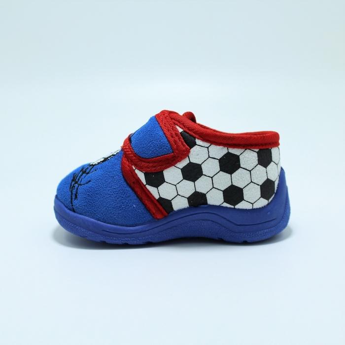 Papuci interior baieti, model Fotbal585, albastru sau gri, marimi 19-27