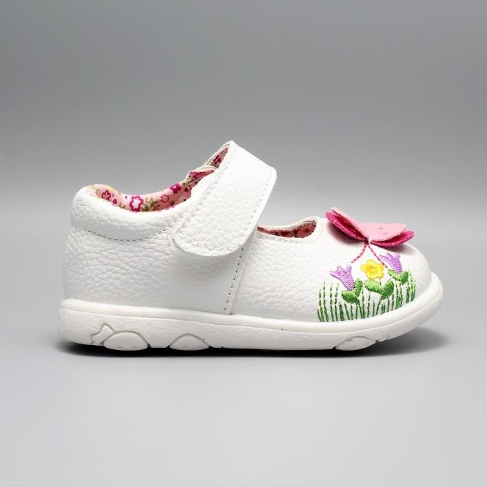 Pantofi alb ivoire cu bareta Happy Bee 19-24EU fluturas 0