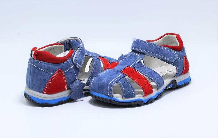 Sandale baieti din piele, HappyBee Denim Blue/Red, marimi 26-31 EU 7