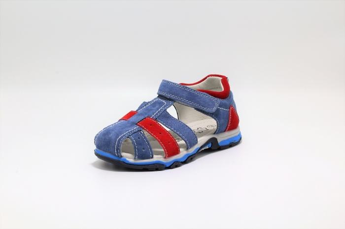 Sandale baieti din piele, HappyBee Denim Blue/Red, marimi 26-31 EU 2